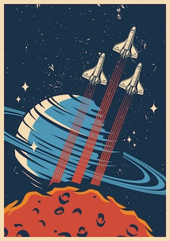 Space adventure colorful template