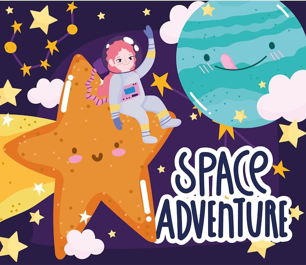 Space adventure cute cartoon astronaut girl shooting star planets and clouds