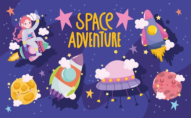 Space adventure galaxy cartoon astronaut shuttle planet ufo and moon illustration