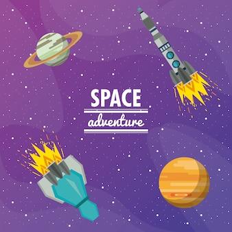 Space adventure galaxy with rocket spaceship