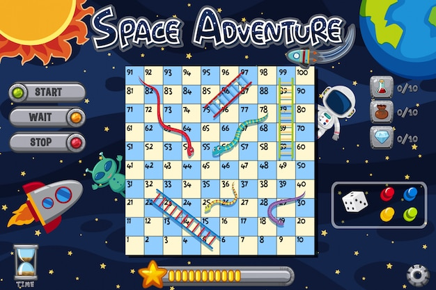 Space adventure game with alien and spaceman