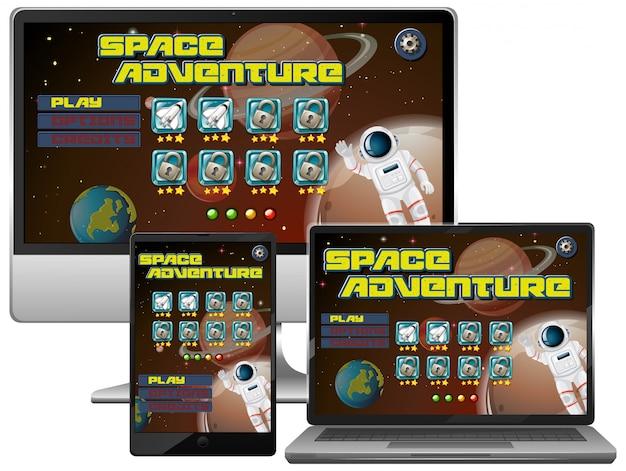 Gioco di missioni di avventura spaziale su diversi schermi elettronici