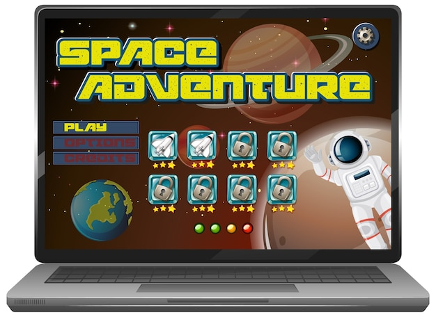 Space adventure mission game on laptop screen
