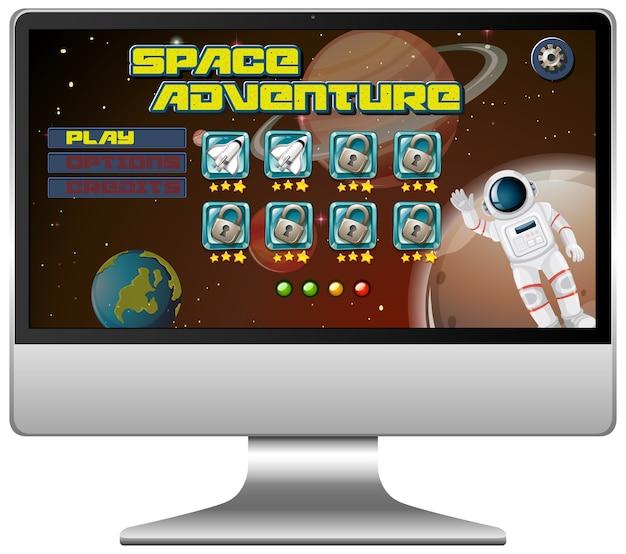 컴퓨터 화면에 우주 모험 미션 게임