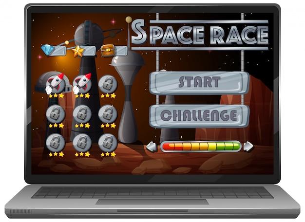 ノートパソコンの画面上の宇宙冒険ミッションゲーム