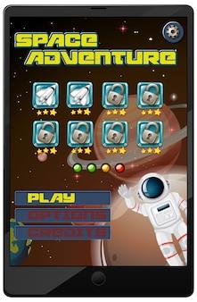 태블릿 화면에서 우주 모험 미션 게임