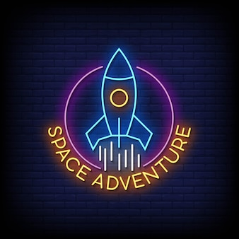 Space adventure neon signs style text vector