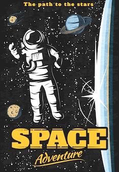 Space adventure poster with astronaut outside orbital station and cosmic objects on starry sky