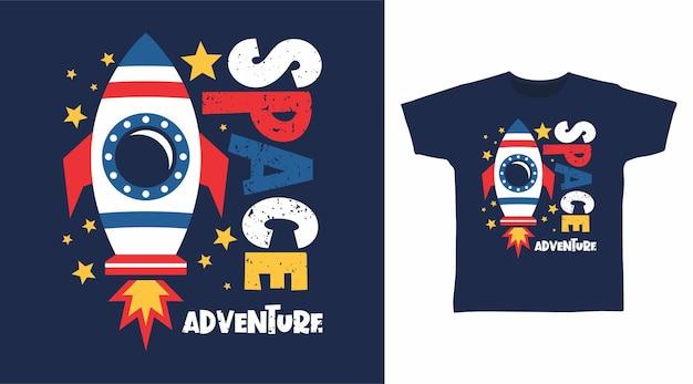 Tシャツデザインの宇宙冒険タイポグラフィ