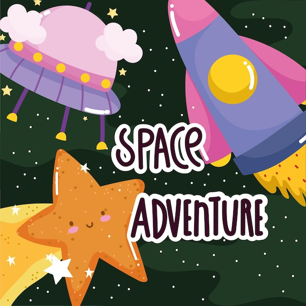 Space adventure ufo spaceship shooting star cute cartoon