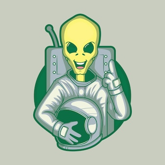 Space alien character  illustration. space, technology, future design concept.