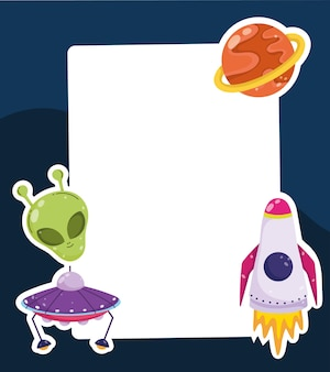 Space alien ufo spaceship and planet cartoon card template  illustration