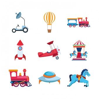 Набор иконок космических и карусельных транспортных средств