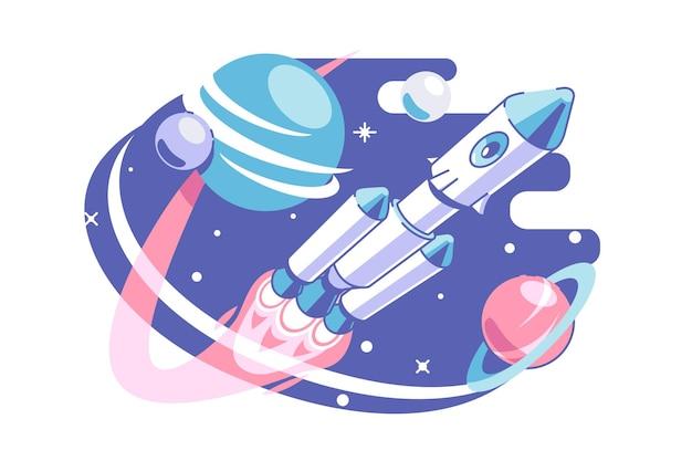 공간과 은하계 탐험 벡터 일러스트 레이 션. 우주선의 우주 비행사는 우주 평면 스타일을 탐구합니다. 별과 행성. 천문학과 과학 개념. 외딴