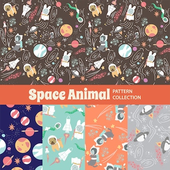 Space animal cute rainbow seamless pattern