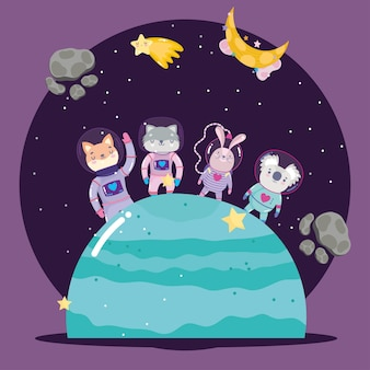 Space animals in spacesuit on planet adventure explore cartoon  illustration