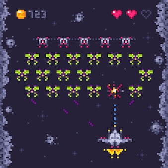 Space arcade game level. retro invaders, pixel art video games and monster invader spaceship gaming  illustration