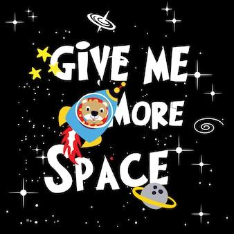 Space astronaut bear cartoon vector