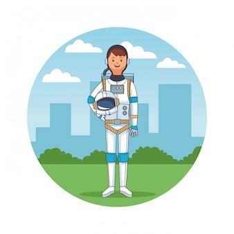 Space astronaut body cartoon