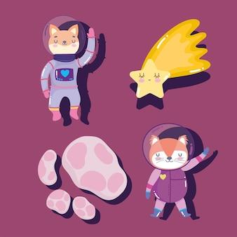 宇宙宇宙飛行士キツネ猫の星と彗星の冒険は、動物の漫画のアイコンのイラストを探る