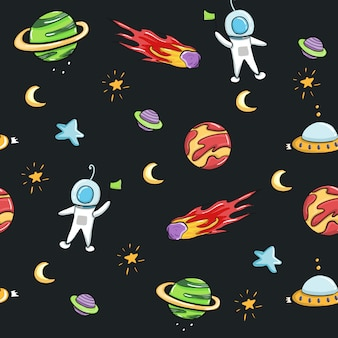 Space astronaut and galaxy seamless pattern design for fabric and print.