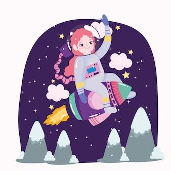 宇宙船の宇宙飛行士の女の子はかわいい漫画を探検し、冒険します