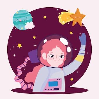 Космический космонавт девушка планета и падающая звезда милый мультфильм