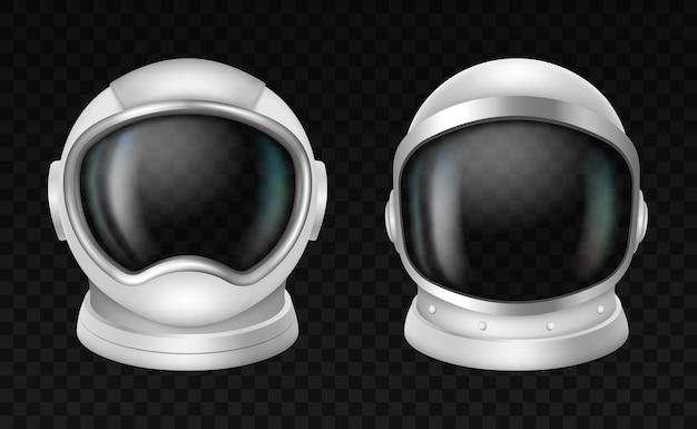 宇宙飛行士のヘルメット、宇宙飛行士のマスク、宇宙服の帽子。宇宙船の冒険保護要素と銀河の旅の摩耗の概念。現実的なベクトル図
