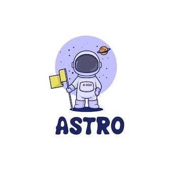 Космический космонавт дизайн логотипа талисмана