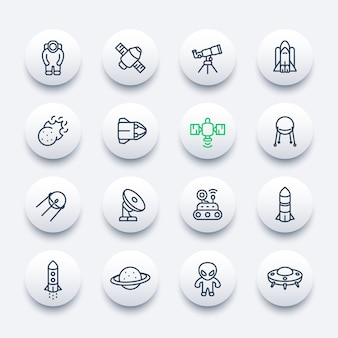 Space and astronomy line icons set