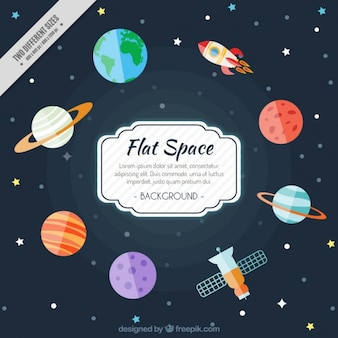 Space background in flat style