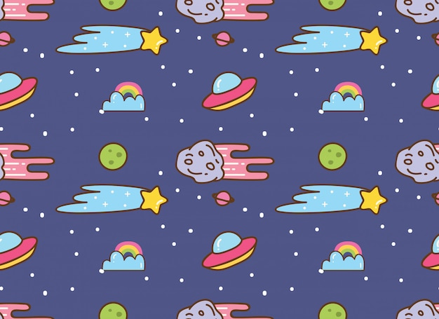 Space background in kawaii style background