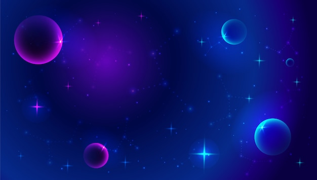 Space background with abstract shape and planets.