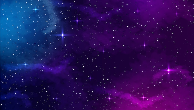 Space background with abstract shape and stars.
