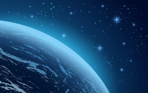 지구와 별이 빛나는 하늘 공간 배경