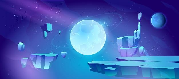 Космический фон с ландшафтом планеты