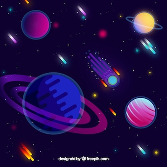 フラットデザインの隕石による宇宙背景