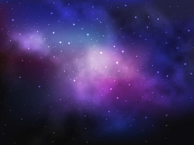 Космический фон с туманностью и звездами