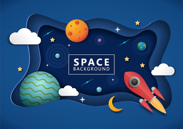 Space background with paper art style