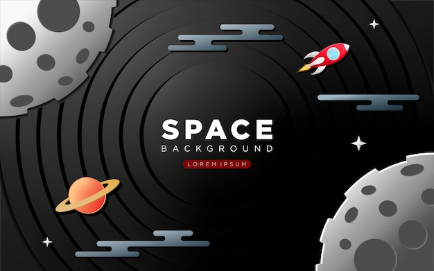 Space background with paper craft style