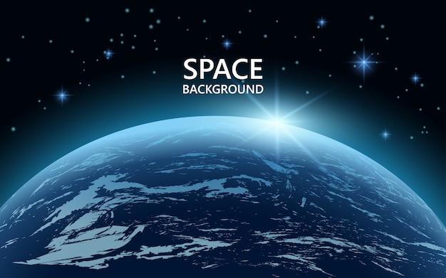 행성 지구와 별과 우주 배경