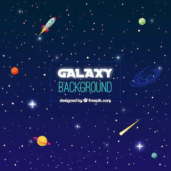 Space background with planets and rocket