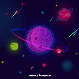 Space background with planets in flat design