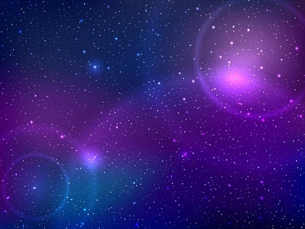 별과 빛의 패치가있는 우주 배경