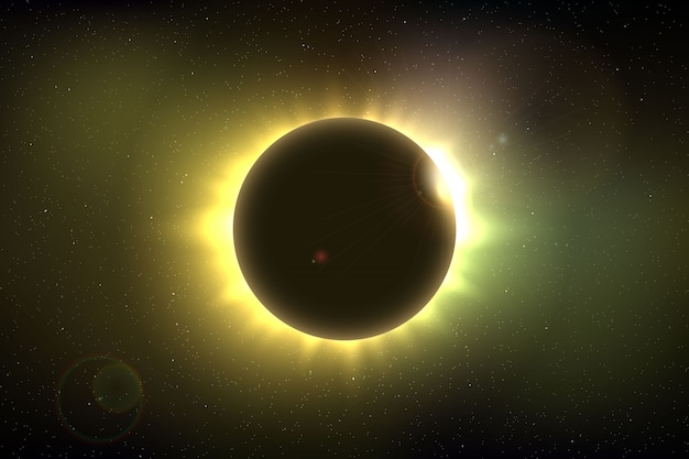 Space background with total solar eclipse for your design