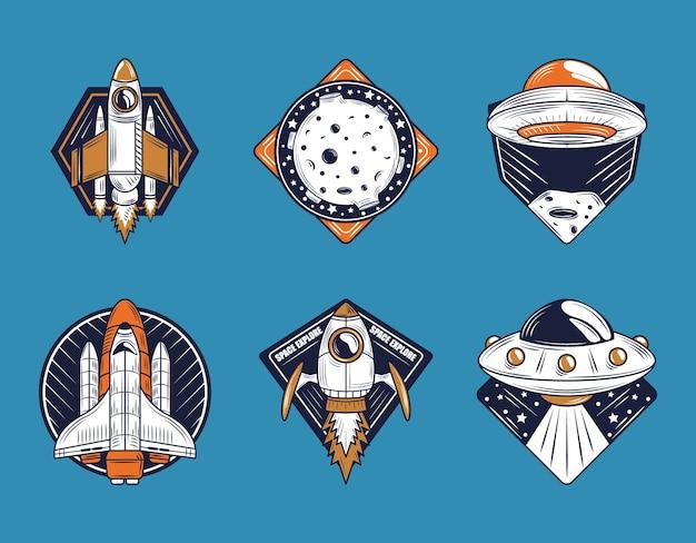 宇宙バッジアイコンコレクションには、宇宙船の月のufoが含まれています