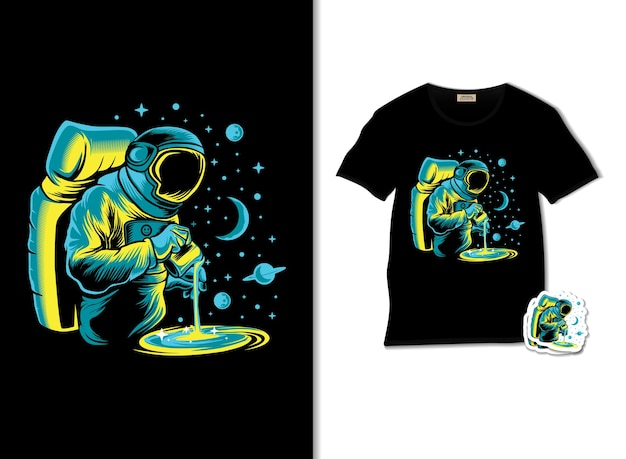 Space barista illustration with t shirt design