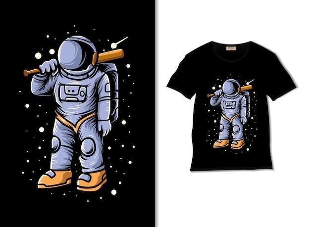 티셔츠 디자인으로 우주 야구 선수 그림
