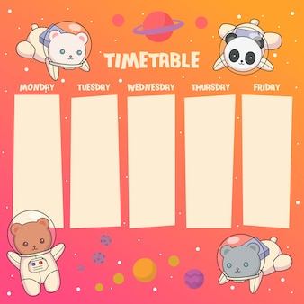 Space bears timetable or weekly planner