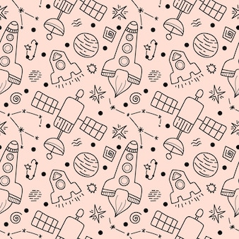 Space black line doodle seamless pattern